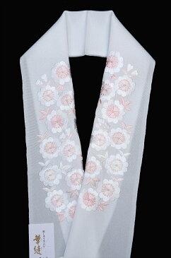 加藤萬謹製 正絹塩瀬 刺繍半衿白地に桜 ピンク・白 色刺繍 刺繍半襟送料無料!