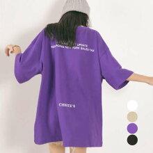 Tシャツレディースカットソー半袖英字ロゴ韓国ファッションゆったりロングTカジュアル