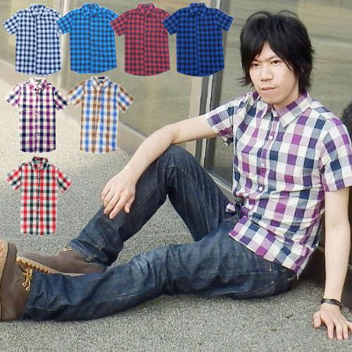 【送料無料】メンズ シャツ 半袖 チェック柄 カジュアル 爽やか トップス春夏 Mサイズ Lサイズ XLサイズ 2XLサイズ メンズファッション 送料無料