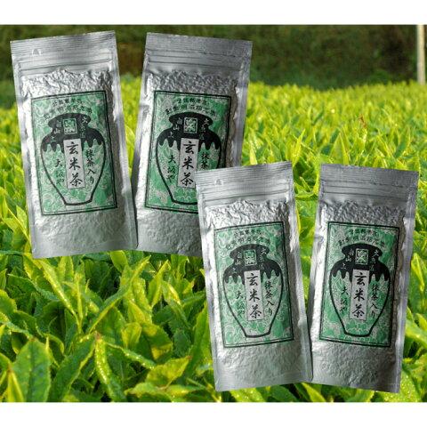 お茶 緑茶 日本茶 ポイント消化 抹茶入り玄米茶100g4本 抹茶 カテキン 玄米 送料無料
