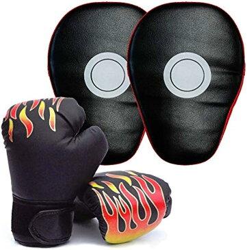 ボクシング グローブ 子供 用 ミット 付 親子 で 特訓 通気性 抜群 格闘技 BEATON JAPAN(ブラック, ダブル)
