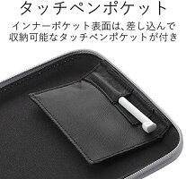 エレコム電子辞書ケースセミハードタイプインナーポケット/タッチペン収納ポケット付グレーDJC-003NGY_4