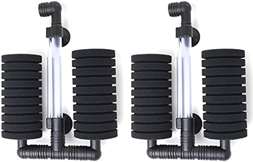 ダブル スポンジフィルター 水槽 ろ過装置 XY-2822[rb-aqua16-filter](2個セット)