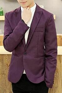 メンズ カジュアル テーラード ジャケット スリム ビジネス 無地 長袖 ひとつ ボタン(パープル, 3XL)