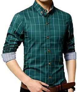 メンズ チェック 柄 シャツ 長袖 カジュアル ワイシャツ 大きいサイズ も ビジネス ボタン(グリーン, M)