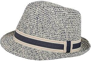 中折れ帽 ストローハット パナマハット 麦わら 帽子 ミックスペーパーハット パナマ帽 メンズ ネイビー(02ネイビー, フリー)