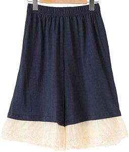 スリーピングシープ かわいい 裾レース ペチコート 大きいサイズ ペチパンツ インナー コットン100% 3.ひざ丈(C.ネイビー2, 3.ひざ丈(M-2L))