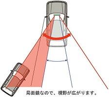 ルームミラー車用視野拡大曲面鏡クローム240mmブラックフレーム_3