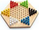 木製 六角 チェッカー ゲーム ボードゲーム 子ども 知育玩具 大人 でも楽しめる おもちゃ(ナチュラル)