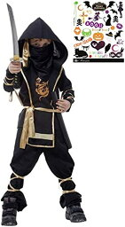 黒装束 本格 忍者 キッズコスチューム ハロウィンボディシール付き 2点セット 男の子 S466 XL 130cm-140cm(黒, XL(130cm-140cm))