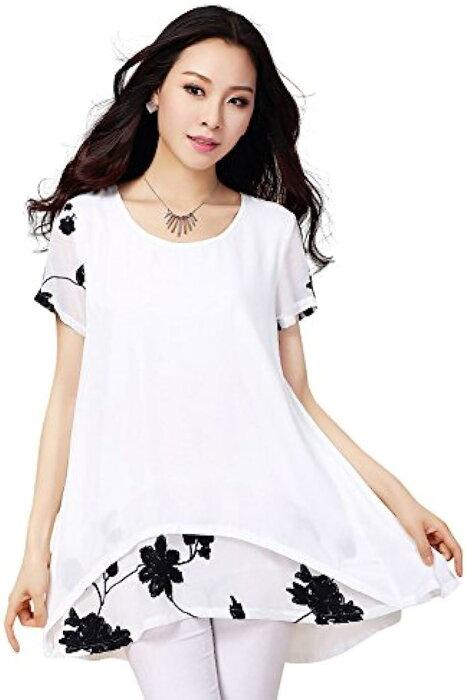 エレガント フラワー刺繍 デザイン シフォン チュニック レディース ホワイト XL-日本サイズL相当(ホワイト XL-日本サイズL相当)