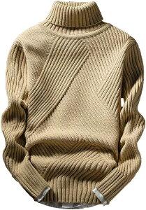 アスペルシオ ハイネック ニット セーター メンズ タートルネック トップス 長袖 ロングスリーブ ながそで 長そで 袖あり そであり モックネック 畦編みセーター 軽い ボリュームネック トレーナー ハイネックセーター(ベージュ, M)