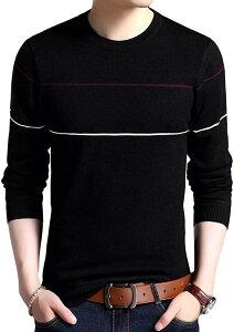 アルトコロニー 薄手 セーター メンズ 長袖 ボーダー ロング tシャツ シンプル カジュアル カットソー 3カラー 4サイズ 大人 フォーマル 原宿風 ストリート 夏 秋 デート 私服 ダンス(ブラック, 04. 3XL(日本サイズXL))