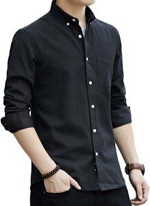ラッキーチャーム オックスフォード ボタンダウン メンズシャツ 透湿素材 長袖 ビジネス 黒 無地 カジュアル オシャレ スリム ボーイズ 紳士 襟付きシャツ カラーワイシャツ ビジネスyシャツ お洒落 クロ インナー 春(ブラック, XL)