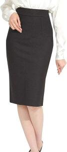 ペンシル スカート タイト 大きいサイズ ひざ下 ミディ丈 オフィス スーツ 用 バックスリット e543(ブラック, XL)