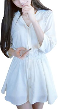 チュニック ワンピース レディース シャツ トップス ロング 長袖 カジュアル 綿 春 夏 白 ホワイト XXL(ホワイト , XXL)
