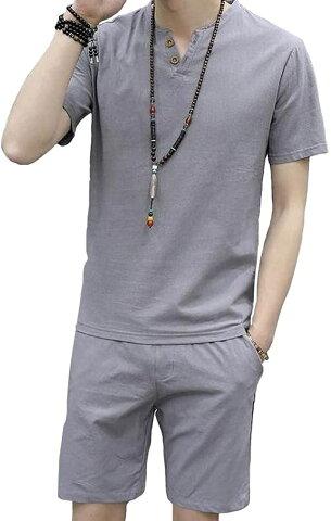 アスペルシオ 半袖 シャツ セットアップ パンツ メンズ tシャツ 上下セット ストレッチパンツ サラサラ アウトドア ボタン ショートパンツ 5分丈 5部丈 カッコイイ ひざ上 ユッタリ ウエストゴム スポーツ ポケット(グレー, 2XL)