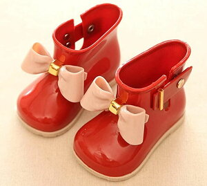 キッズ 女の子 レインブーツ レインシューズ 靴 子供 ガールズ 長靴 雨靴 リボン measurement_10_point_5_centimeters(レッド, 10.5〜11.0 cm A)