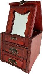 ジュエリーボックス コスメ メイクボックス 小物入れ 化粧品 ミラー 鏡付き 木製 アンティーク調 ケース 宝石箱 収納箱 アクセサリー ビンテージ AT34(Aタイプ)