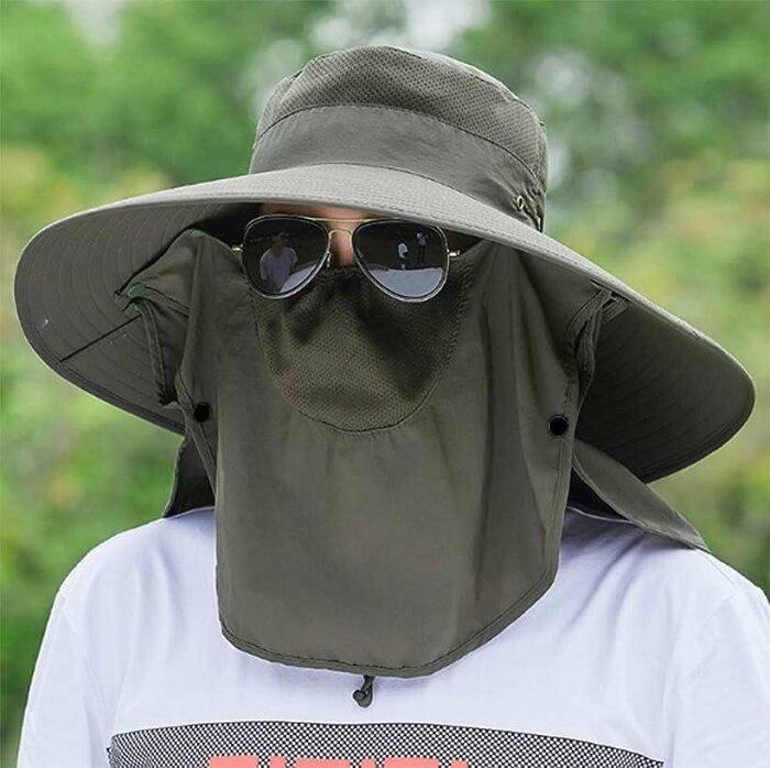 ハット メンズ レディース 帽子 大きいサイズ つば広 軽薄 通気性抜群 日除け 紫外線対策 アウトドア 釣り ハイキング 登山 フリーサイズ 男女兼用(アーミーグリーン(紫外線を360度カット), Free Size)