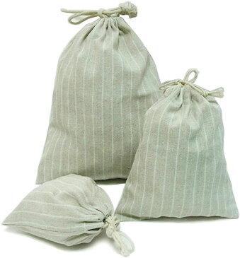 ストライプ 柄 巾着袋 大中小 3サイズ セット 小物 収納 ポーチ 給食袋 体操服入れ コップ袋 綿麻 コットン(オフホワイト)