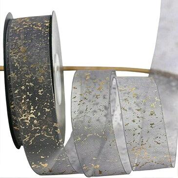 金粉雪リボン DIY ヘアアクセサリー 材料包装 バルーン 靴ひも 花ギフト ボックスリボン 10ヤード 約9.14m(灰色)