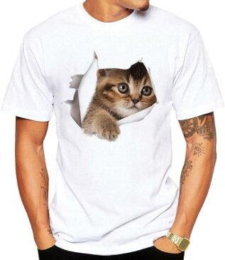 Tシャツ 猫 おもしろ トリックアート カジュアル シンプル ブラウンネコ(NO.6, S)