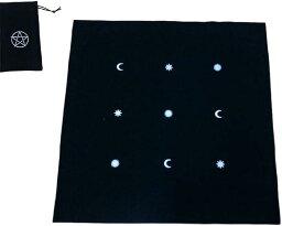 タロットカード 用 タロットクロス と タロットカード収納 ポーチ 2点セット(黒:クロス・ポーチ2点セット)