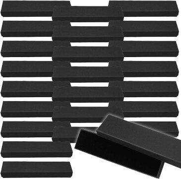 AINetJP ギフトボックス ラッピング パッケージ 包装箱 贈り物 プレゼント ピアス 指輪 アクセサリー 20.5x5x2.5cm 24個セット(黒, 20.5x5x2.5cm 24個セット)