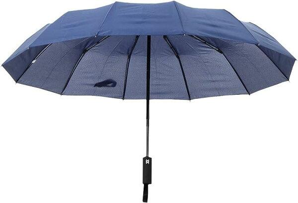 圧倒的大きさ120cm12本骨折りたたみ傘自動開閉軽量収納ポーチ付き(ネイビー,120)