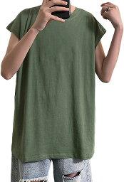 メリュエル 無地タンクトップ ノースリーブ Tシャツ 丸首 薄手カットソー シンプル トップス メンズ(グリーン, M)