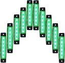 ライケイ 防水 led 24v 6連 サイドマーカー 10個セット グリーン カスタム ランプ 緑 デコトラ イルミネーション トラック(24V 緑)