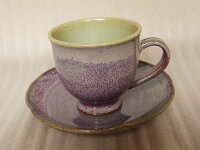 花びら皿の紅桃霜降りコーヒー碗皿