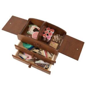 送料無料 国産木製裁縫箱 3段(20-301) 駿河木工 ソーイングボックス ばらのレリーフが美しいソーイングセット