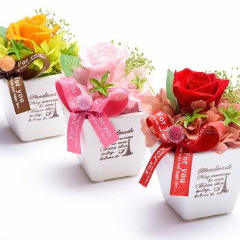 ≪選べる≫花とスイーツセットプリザーブドフラワー誕生日プレゼントやお祝いにお菓子お中元ギフト花のGIFT御中元12