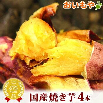 送料込み!人気国産焼き芋4本セット天然のスイーツ紅はるかの焼きいもAB1