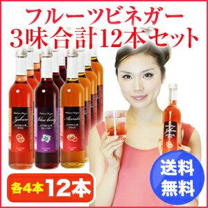 フルーツビネガーおいしい酢ザクロ・ブルーベリー・アセロラ12本セット【飲む酢】【果実酢】【RC…