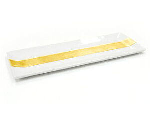 白磁 金箔襷 長角皿