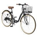 26インチ折畳自転車 M-509-BK(ブラック)6段ギア・シティサイクルマイパラスおりたたみ自転車 バスケット...