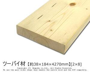 DIY向きの代表格。リーズナブルで初心者にも扱いやすい!ツーバイ材 【約38×184×4270mm】[2×8]