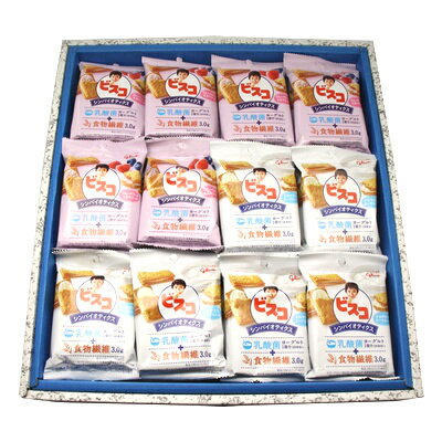 おかしのマーチ グリコ ビスコ シンバイオティクス ブルーベリー&ラズベリー味・さわやかなヨーグルト味 (5枚×2パック) (2種類・計36個) ギフト セット F