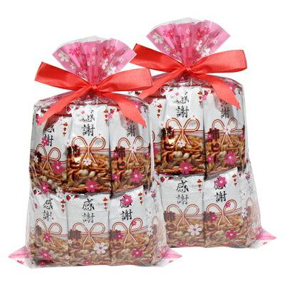 (送料無料)ヤスイフーズ感謝柿ピー60コセット花柄ラッピング2袋セットおかしのマーチ