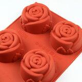 シリコンフレックス ローズ/バラ型6ヶ付 SF-077  シリコン型 ケーキ型 花 お菓子