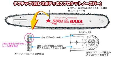 """スギハラガイドバーST2M-3J45【18インチ(45cm)】【.325""""】【.063""""(1.6mm)】【チェンソー】【ソーチェン】【スチール用】"""