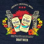 【メンズ・レディース共用バックプリント】オリオンビール Tシャツ 「 龍柱とドラフト缶」(紺)綿100% S M L LL XL XXL サイズ グッズ 半袖 半そで