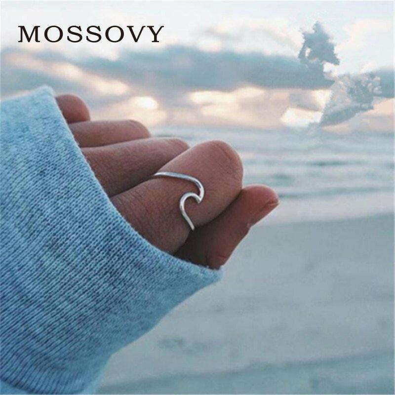 レディースファッション, その他 Mossovy Wave Alloy Rings Charms Ring Rings malist