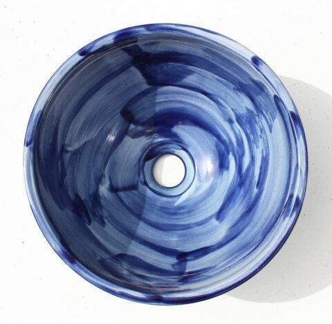 手洗いボウル/グラデーション洗面鉢 沖縄陶器やちむん製[洗面鉢][洗面ボール][洗面ボウル][手洗い鉢][手洗いボール]送料無料/NO-86
