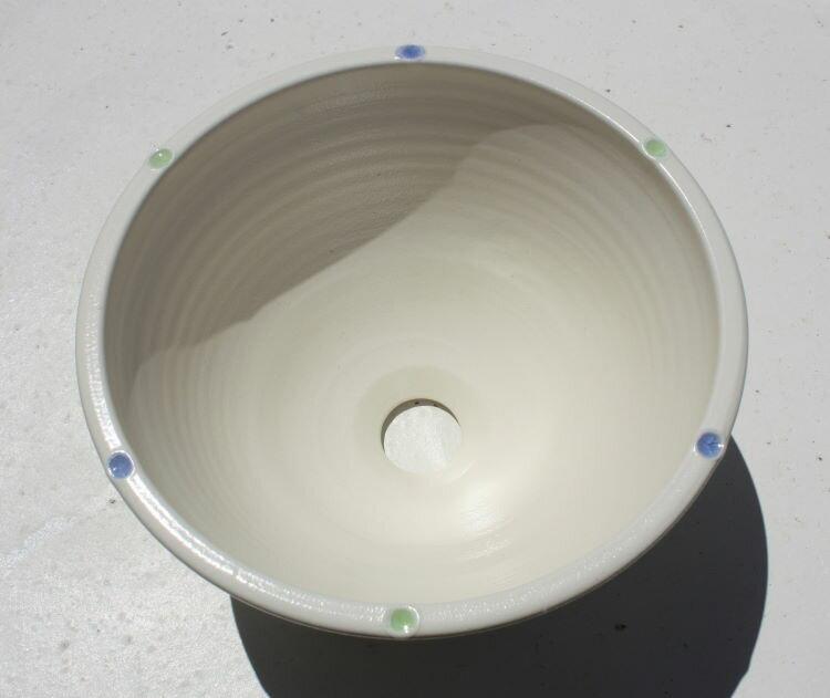 陶器と琉球ガラスの洗面 やちむん[洗面鉢][洗面ボール][洗面ボウル][洗面器][手洗い鉢][手洗いボール][手洗いボウル][手洗い器]NO-5