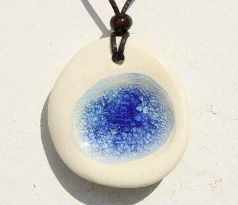 沖縄陶器ヤチムンと琉球ガラスのネックレス/Large/NO-1