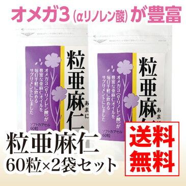 【送料無料】粒亜麻仁2袋セット【亜麻仁油 サプリメント 必須脂肪酸オメガ3 α-リノレン酸 リグナン フラックスシードオイル】